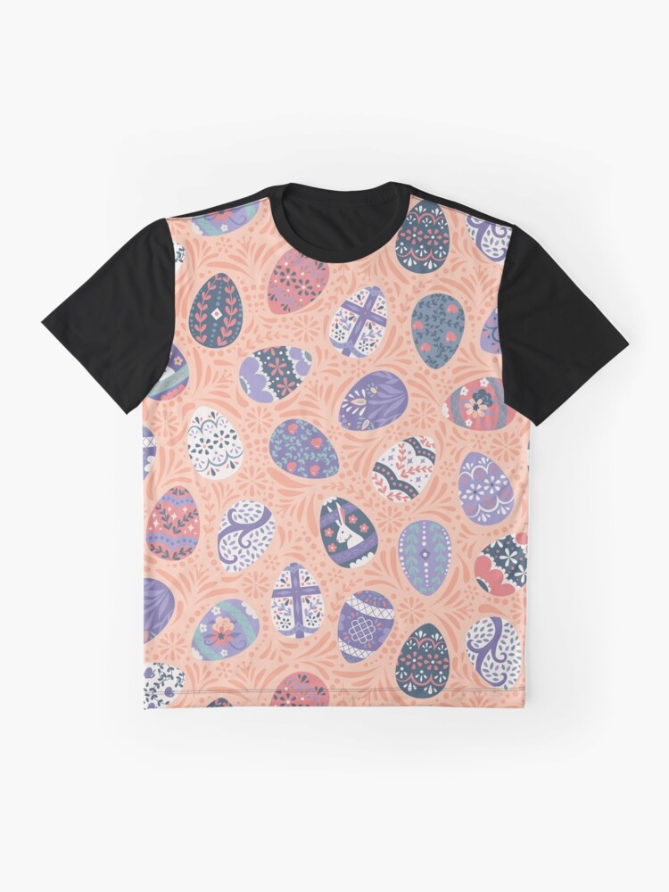 Alternate view of Floral Easter Eggs in Coral + Purple Graphic T-Shirt