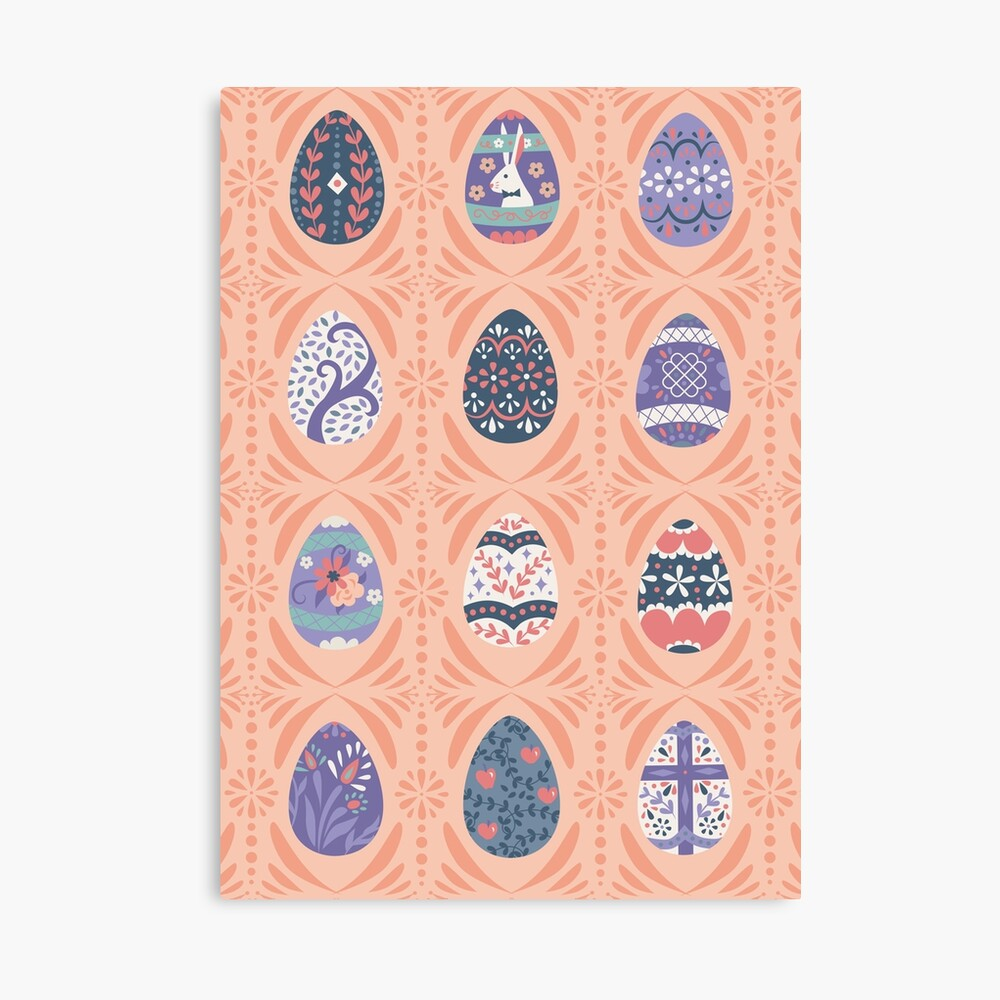 Floral Easter Eggs in Coral + Purple Canvas Print
