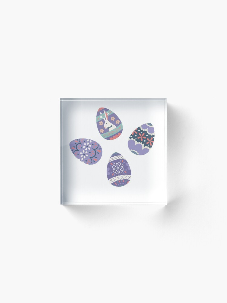 Alternate view of Floral Easter Eggs in Coral + Purple Acrylic Block