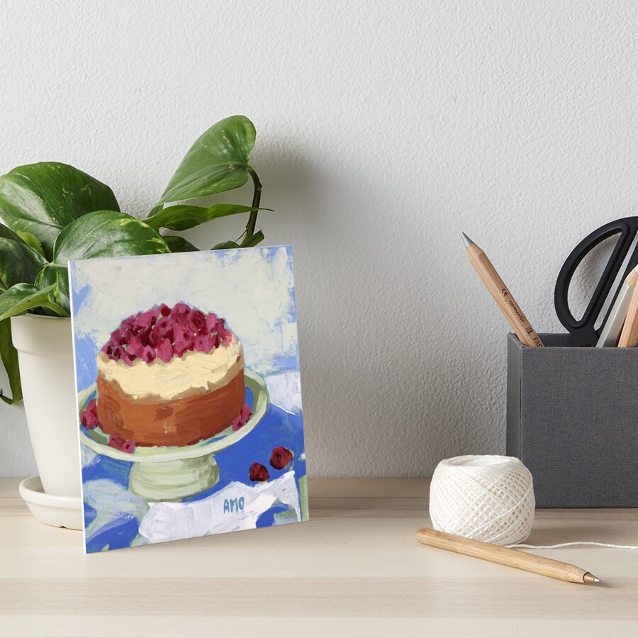 Raspberry Cream Cake Art Board Print