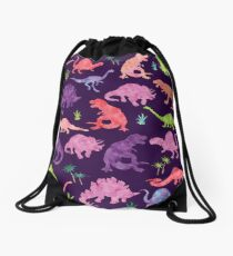 Feminine Purple Watercolor Dinosaur Silhouette Pattern Drawstring Bag