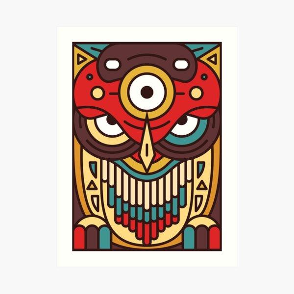 Totemonster - Owl - Animal Monster Native Americans Totem Art Print