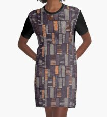 Vertical Rectangles on a Black Background Graphic T-Shirt Dress