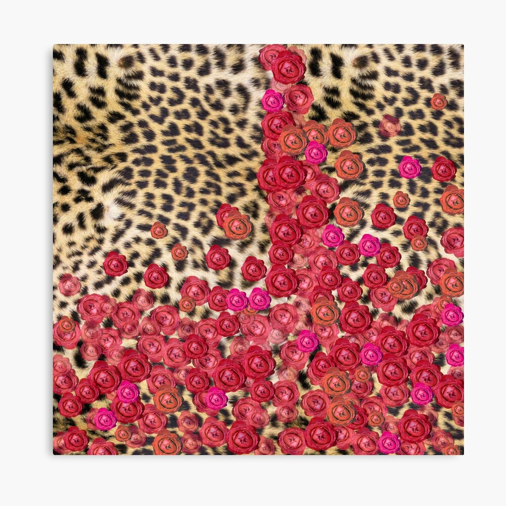 Leopard print and roses Canvas Print