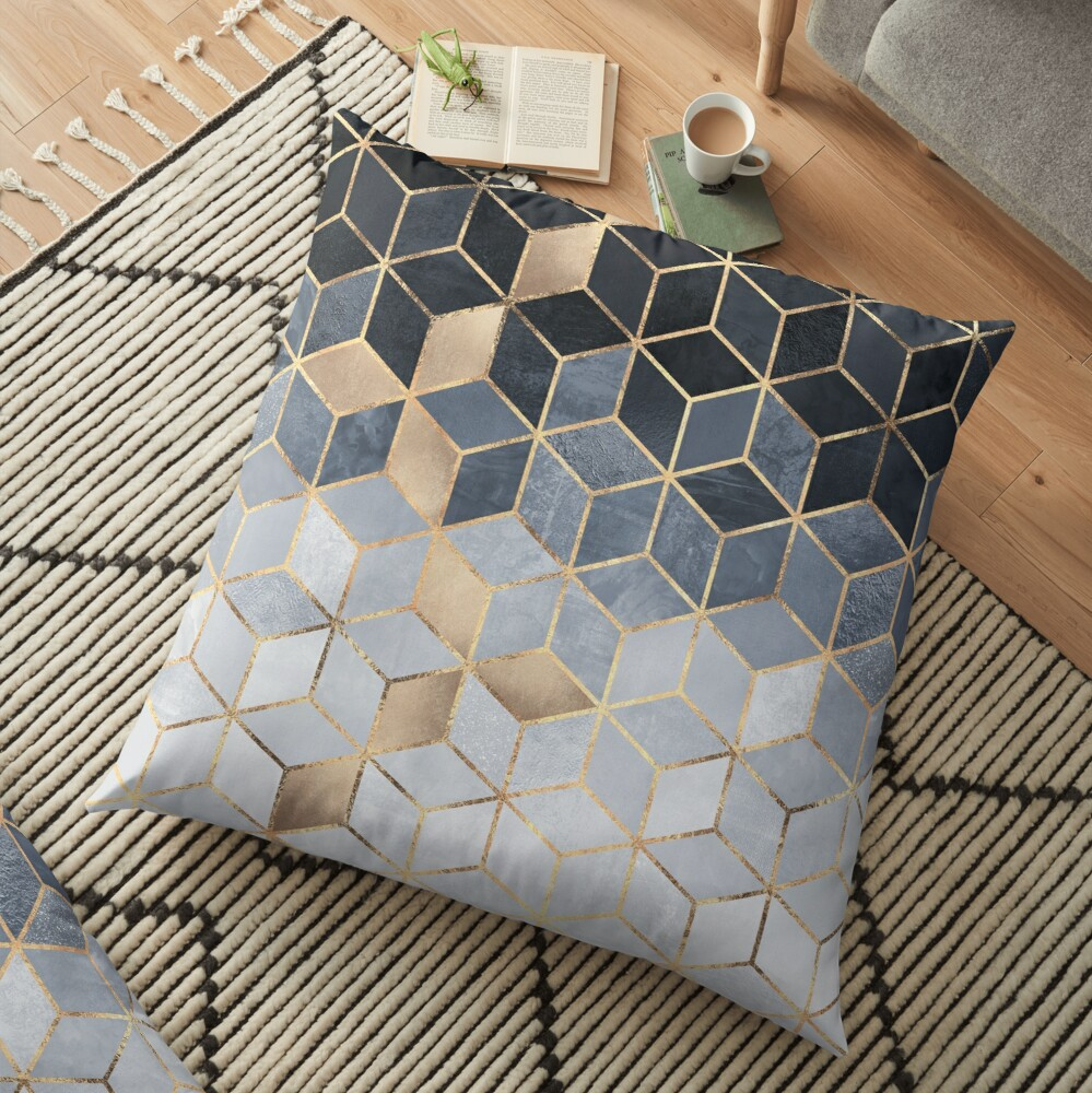 Soft Blue Gradient Cubes Floor Pillow
