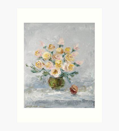 White roses on the table Art Print