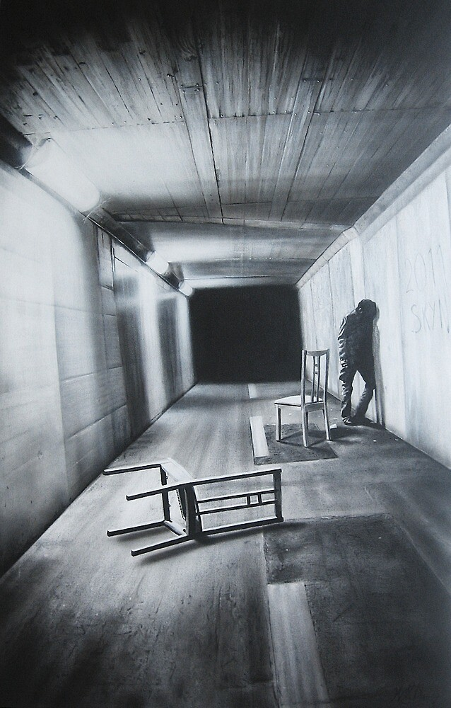 ' Return To Me '     160 cm x 100 cm   Charcoal and Acrylic on Stretched Canvas by Warren Haney
