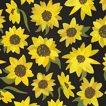 Sonnenblumen-Acryl auf Holzkohle von catcoq