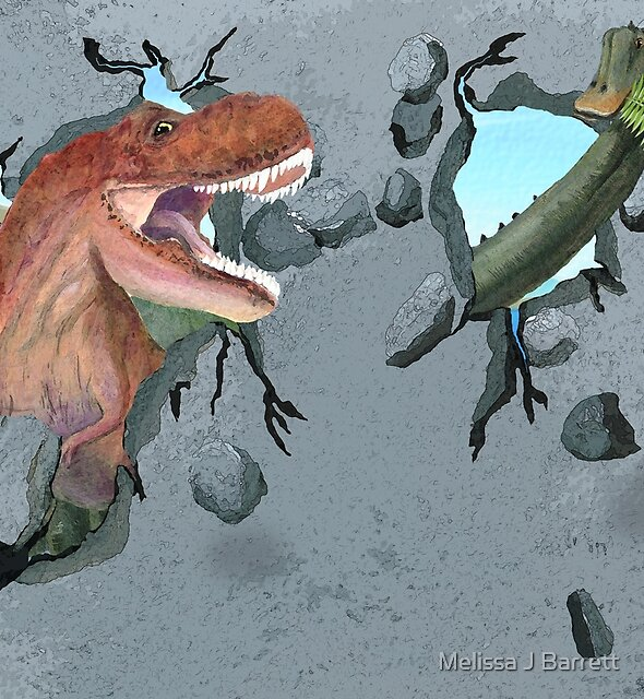 Two Dinosaurs are Breaking Through the Wall by Melissa J Barrett