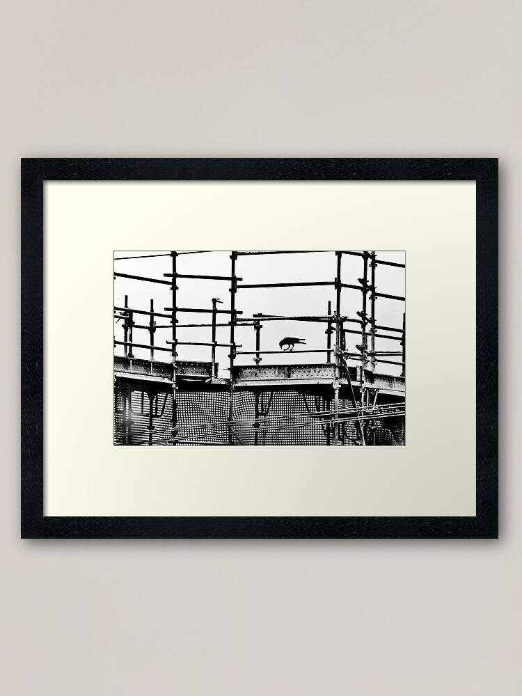 Alternate view of Silhouette scaffolding with a crow Framed Art Print