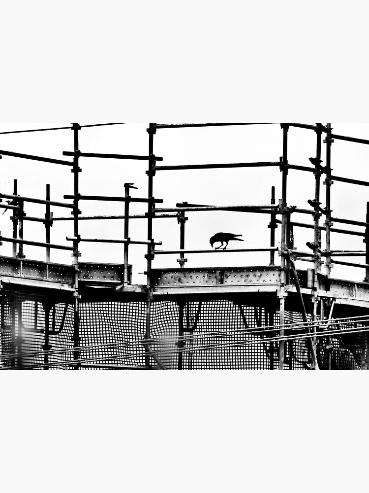 Silhouette scaffolding with a crow by fardad
