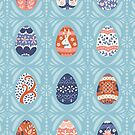 Floral Easter Eggs in Light Blue by latheandquill