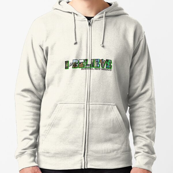 I Believe Roswell New Mexico Big Letter Zipped Hoodie