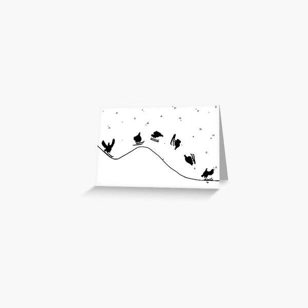 Aerial Skiing Chicken Greeting Card