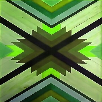 Navaho Vibes Geometric Pattern - Black Olive Lime by taiche