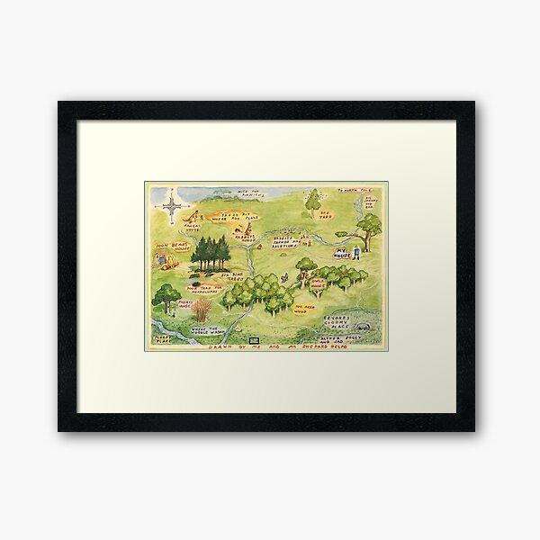 Hundred Acre Woods Map Framed Art Print