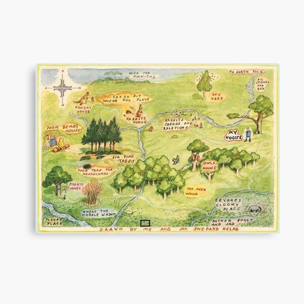 Hundred Acre Woods Map Canvas Print