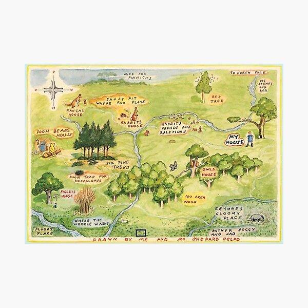 Mapa de los Cien Acres Lámina fotográfica