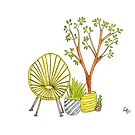 Yellow Chair with Pot Plants by Leanne Barrett