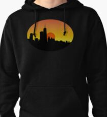 Chicago Skyline at Sunset Pullover Hoodie