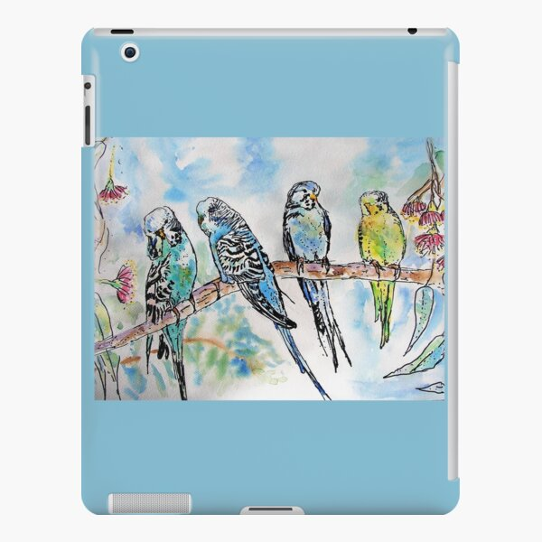 Colourful Budgies Budgerigars Sitting on A Branch Watercolor Painting iPad Snap Case