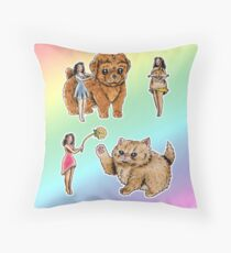 Tiny Pin ups ans Fluffy Pets Throw Pillow