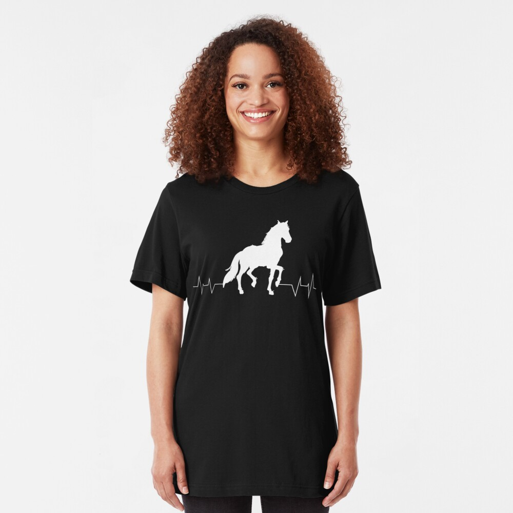 Horse Heartbeat - Horse lovers Slim Fit T-Shirt