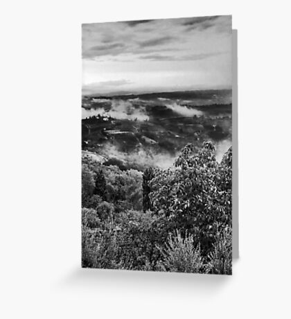 Hills wrapped in mist Greeting Card