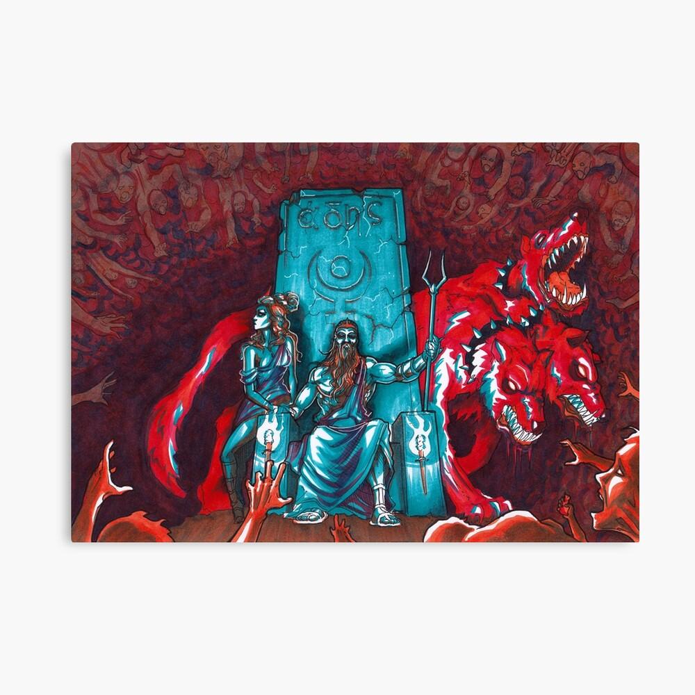Oversaturated Underworld - Hades, Persephone and Cerberus Canvas Print