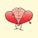 Cartoon brain getting rid of its heart costume by Zoo-co