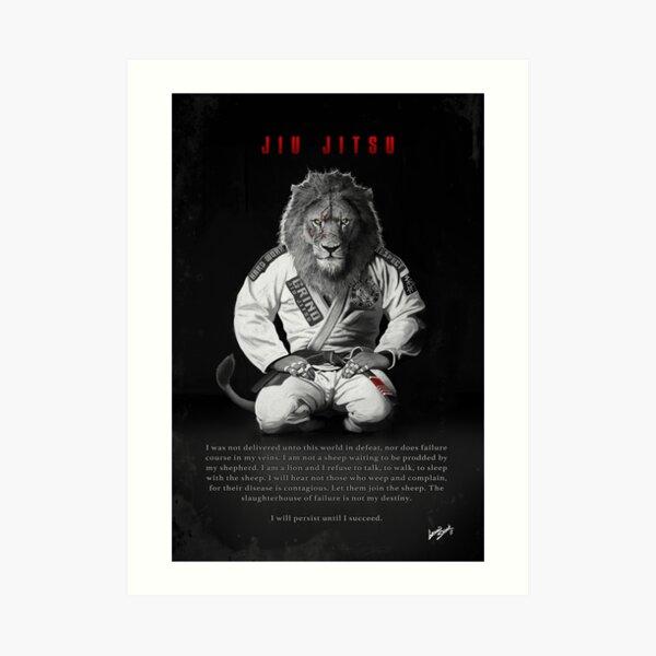 Kneeling Jiu-Jitsu Lion Art Print