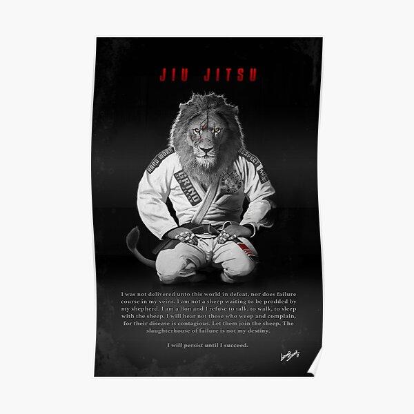 Kneeling Jiu-Jitsu Lion Poster