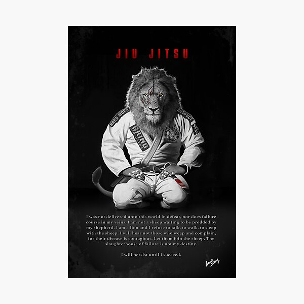 Kneeling Jiu-Jitsu Lion Photographic Print