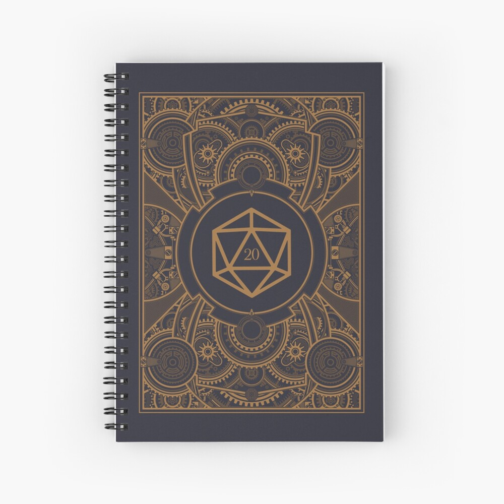 D20 Dice Steampunk Mech Spiral Notebook