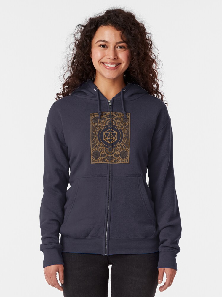 Alternate view of D20 Dice Steampunk Mech Zipped Hoodie