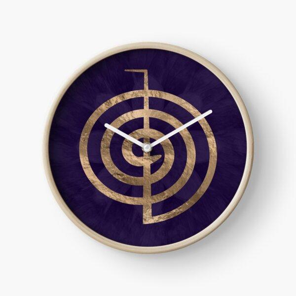 Cho Ku Rei - gold on purple lotus  Clock