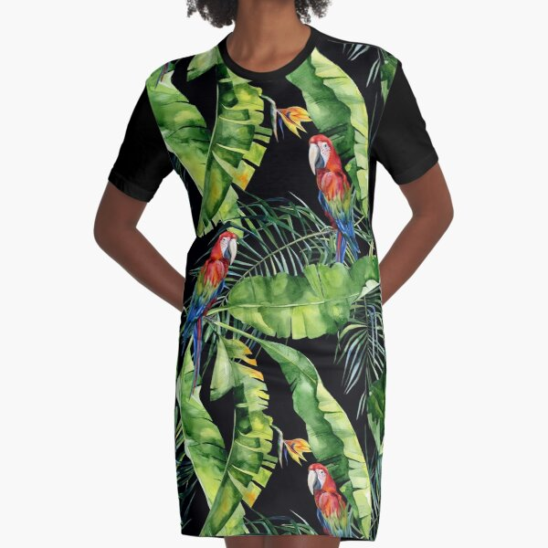 Seamless watercolor illustration of tropical leaves, dense jungle. Scarlet macaw parrot.  Graphic T-Shirt Dress