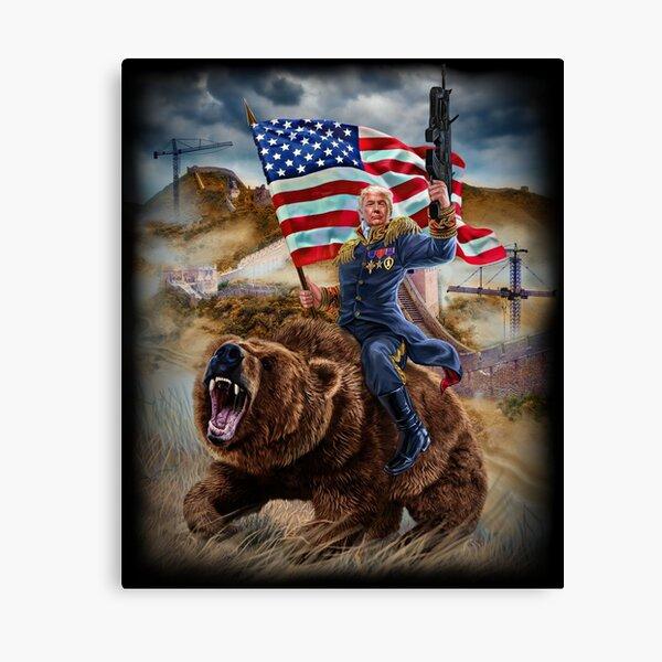 USA Republican President Donald Trump Building Epic Wall Canvas Print
