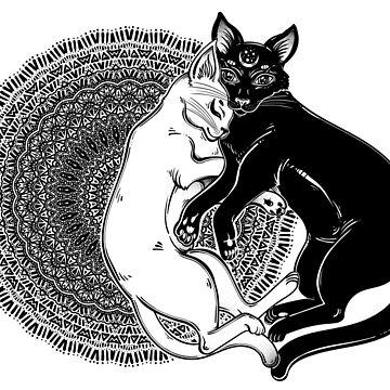 Black and white cat dualism. Mandala and tender hug of opposites.  by KatjaGerasimova