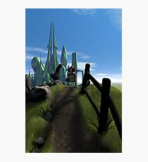 Little Red Robot Walking Over a Hill Photographic Print