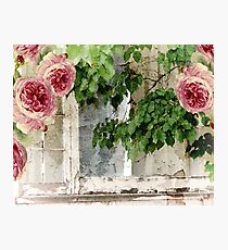 Cottage Window Shabby Roses Photographic Print