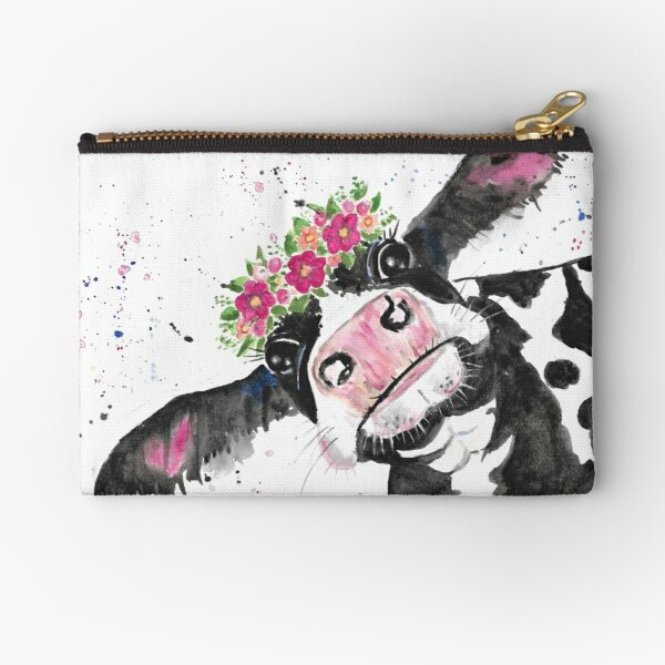 Not Today Heifer, Cow with Flowers Zipper Pouch