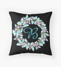 Letter B- butterfly, orchid, Alphabet, Monogram, Initial  Throw Pillow