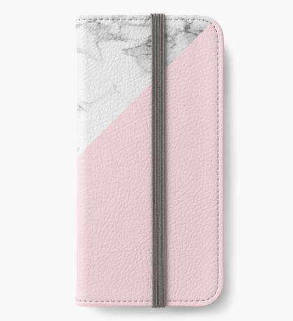 Marble + Pink Pastel Color. Geometría clásica. Funda tarjetero para iPhone
