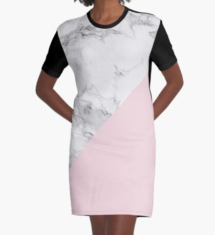 Marble + Pink Pastel Color. Geometría clásica. Vestido camiseta
