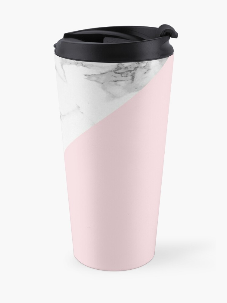 Alternate view of Marble + Pink Pastel Color. Classic Geometry. Travel Mug