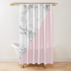 Marble + Pink Pastel Color. Classic Geometry. Shower Curtain