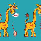 Cheeky hedgehog making a declaration of love to a tall giraffe by Zoo-co