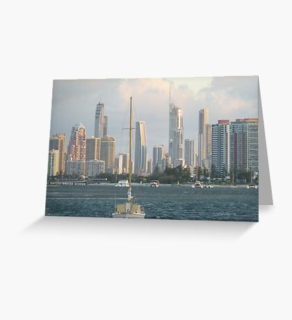 Broadwater  Gold  Coast misty day. Greeting Card