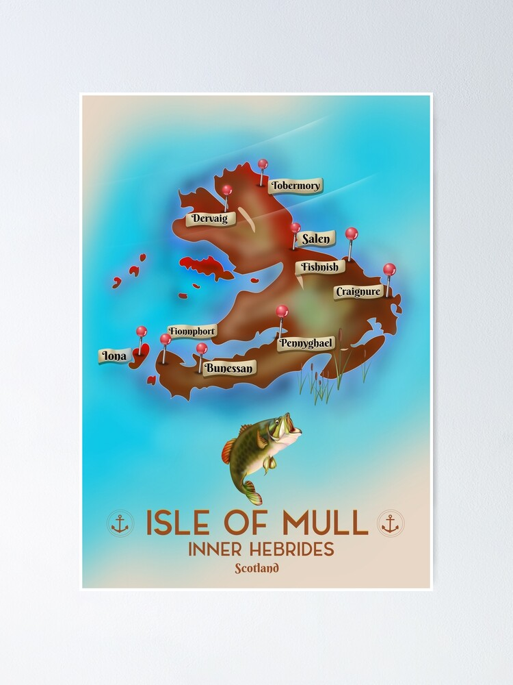 Alternate view of Isle of Mull Scotland map Poster
